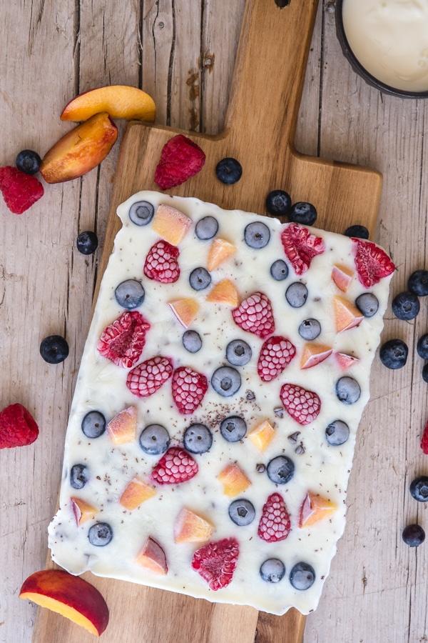 yogurt bark on a wooden board