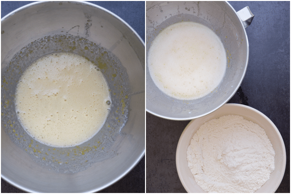 how to make peach cake, beating the eggs and sugar, the whisked dry ingredients in a bowl