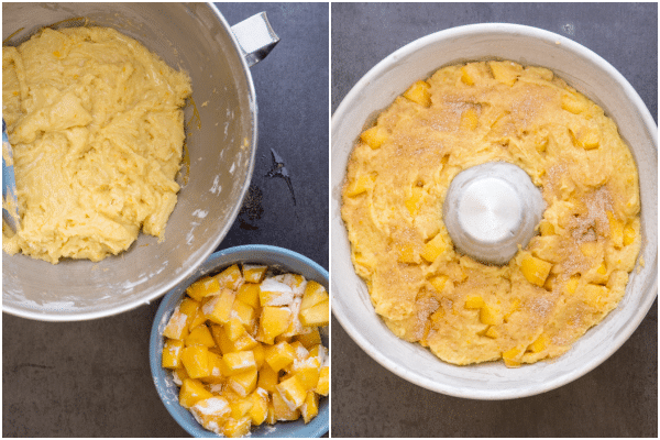 how to make a peach cake batter made, and in the pan for baking