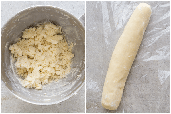how to make lemon cookies dough mixed and rolled into a log