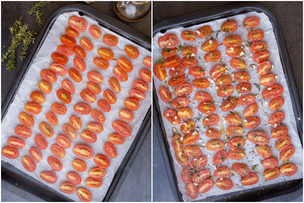 roasted tomatoes how to make sliced and sprinkled with spices