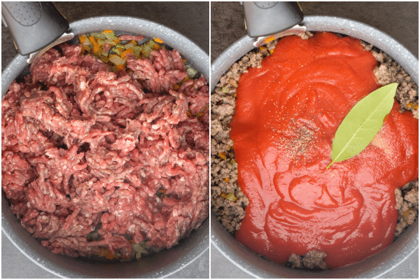 cooking the meat and adding the tomato paste & puree to the bolognese sauce