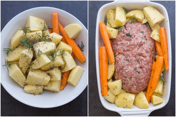 how to make stuffed meatloaf veggies mixed and in the baking pan with the meatloaf to bake
