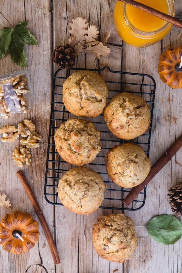 unglazed pumpkin muffins on a wire rack