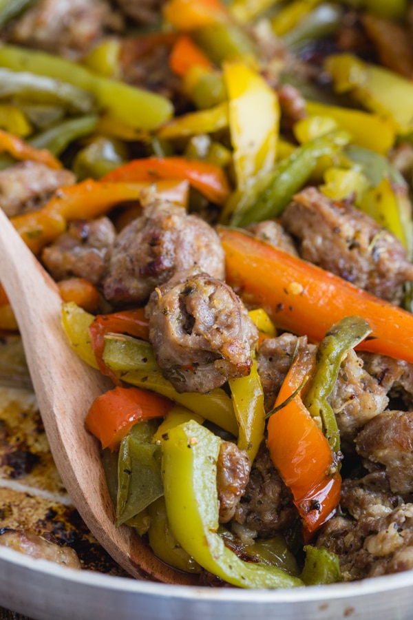 sausage & peppers in a silver pan