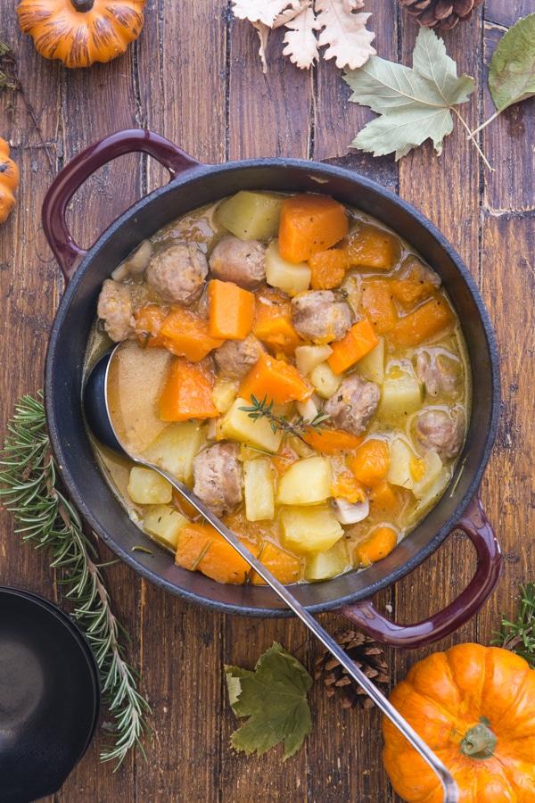 pumpkin stew in a red pot