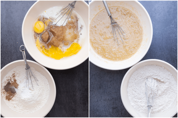 whisking the wet and dry ingredients together in white bowls