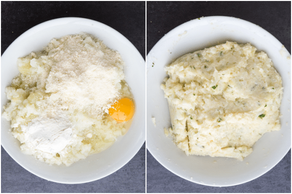 mix mashed potato & cauliflower with parmesan, egg, spices & flour in a white bowl
