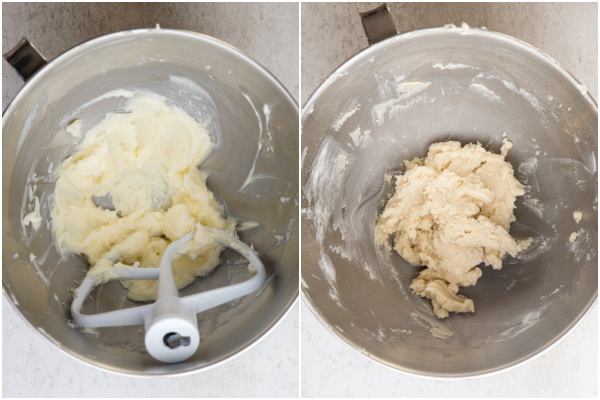 creaming the butter and adding the flour until just combined