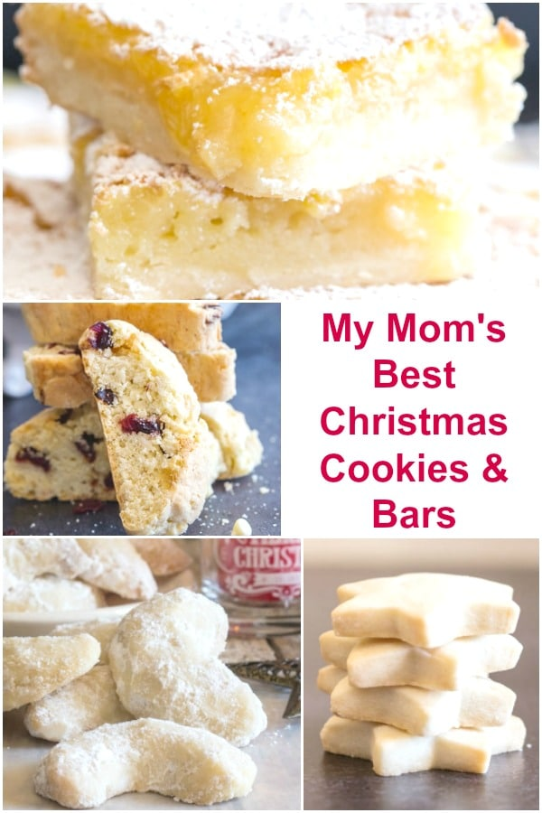 Christmas cookies, shortbread, biscotti, crescents and lemon bars on a pinterest collage