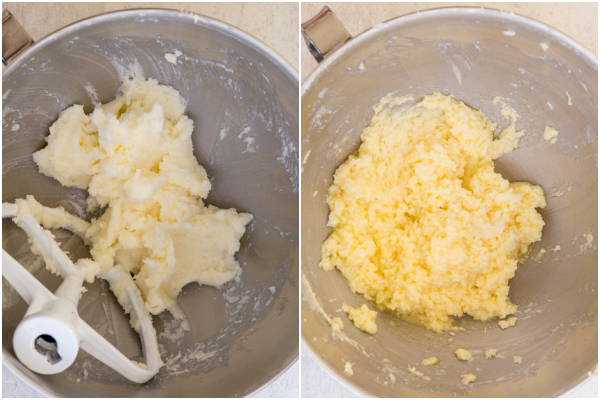 creaming the butter in the mixer bowl and mixing in the egg