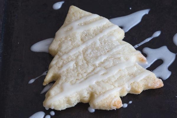 lemon sugar cookies tree shape drizzled with lemon glaze