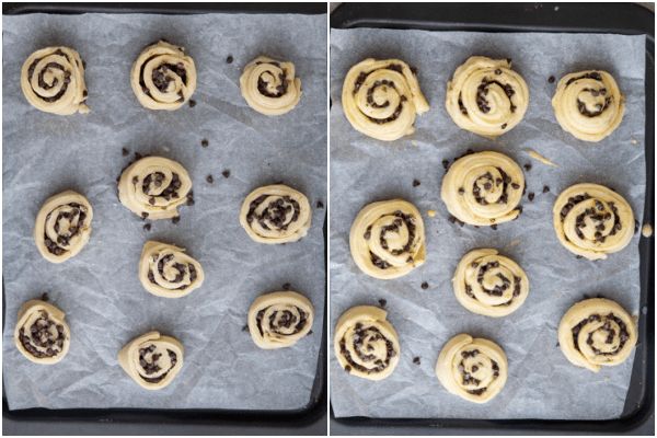 slice the rolls and let rise 2 hours on a parchment paper lined cookie sheet