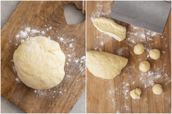 forming the dough on a board, and rolling into small balls
