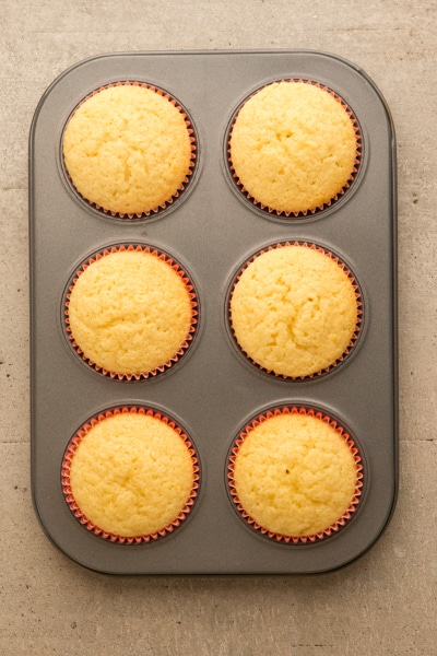 baked cupcakes in a six muffin tin size