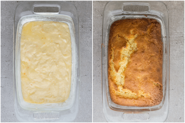 the batter in a glass loaf pan before and after baked