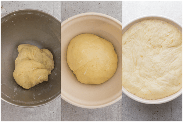 the dough mixed in the mixing bowl, before and after rising in a white bowl