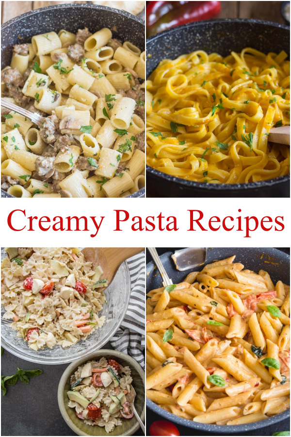 Creamy pasta pepper sauce in a black pan, sausage & mushroom in a pan, pasta salad in a bowl & creamy tomato in a black pan.