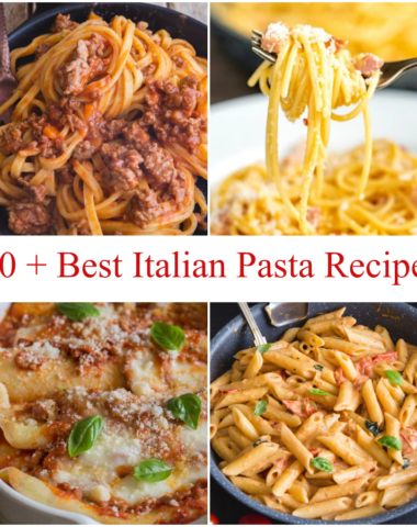 4 different pasta recipes, bolognese, carbonara, crepe red sauce & easy tomato sauce.