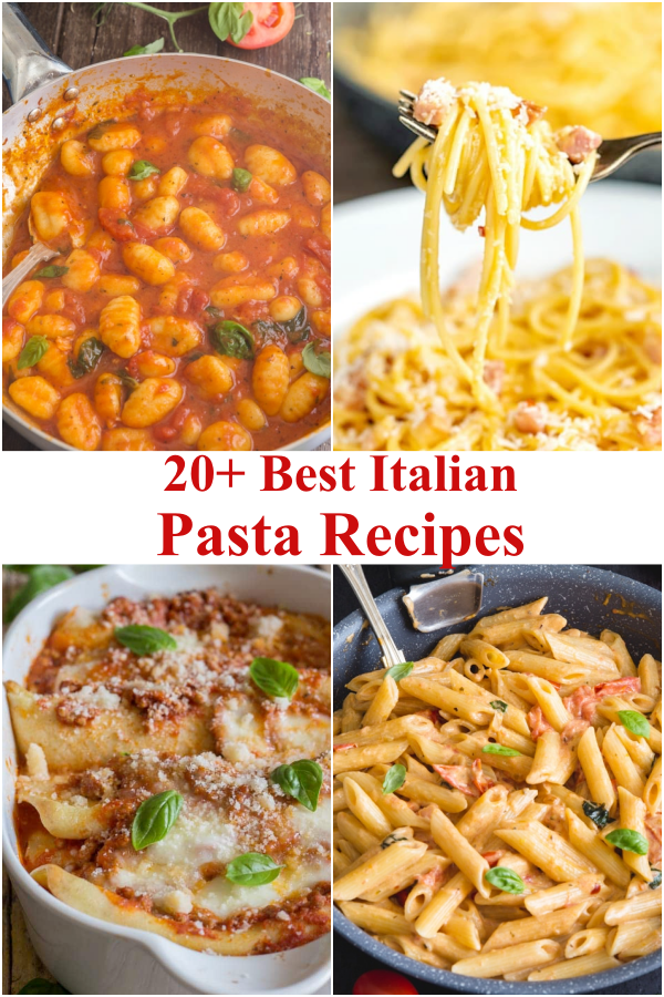 Pasta recipes, gnocchi in a pan, carbonara on a fork, crepe with meat sauce in a white pan & tomato pasta in a black pan.