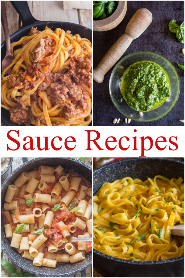 Sauce recipes, bolognese on pasta in a pan, pesto in a jar, fresh tomato sauce & red pepper cream sauce.