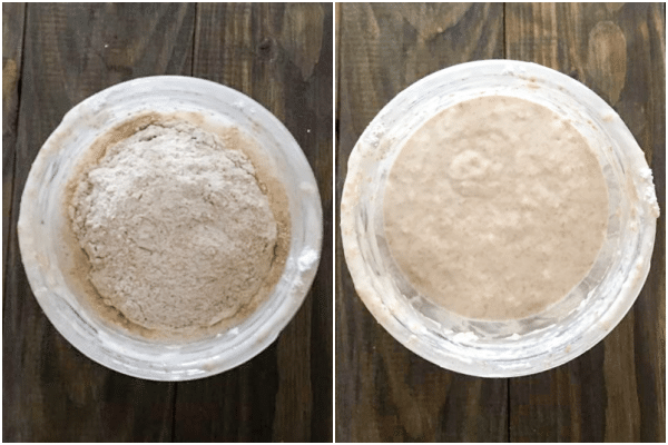 flour and water added to discard in jar, starter stirred in jar
