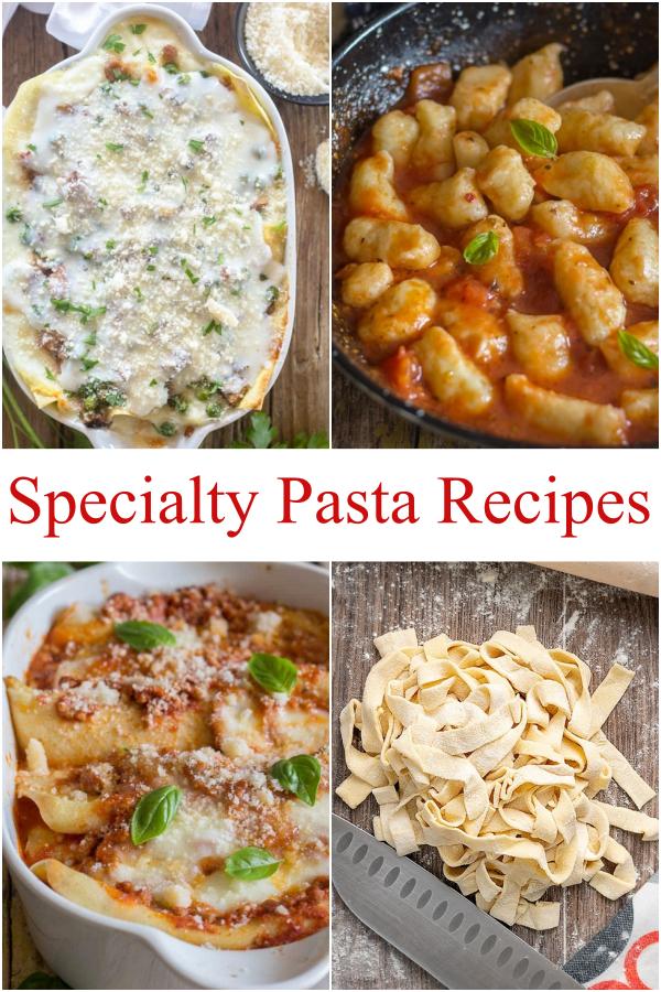 4 different pasta recipes, white lasagna, gnocchi, crepe with meat sauce & 2 ingredient pasta.