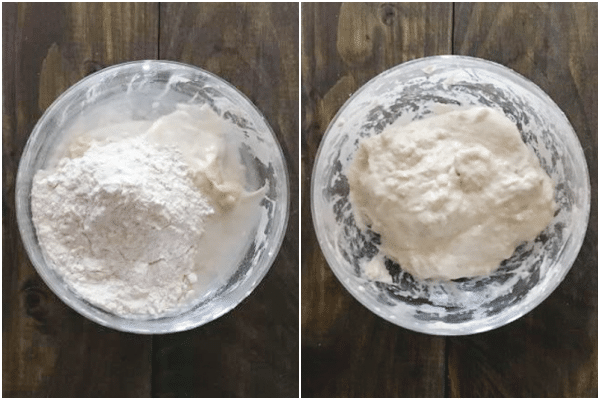 adding the flour to the starter in a glass bowl and mixing it together in a glass bowl