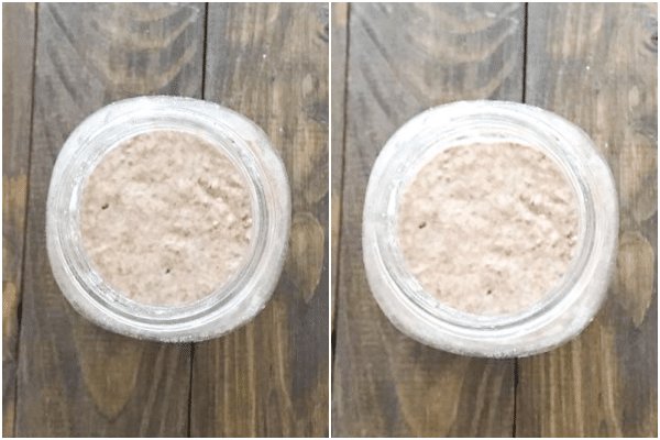 starter in the jar before and after discarding