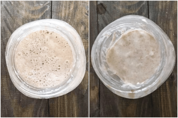 starter dough in a jar before and after removing discard