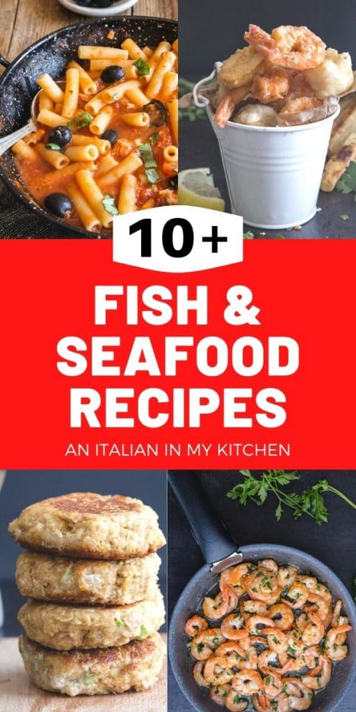 fish recipes pasta with olives, fried seafood in a white cup, 4 tuna burgers stacked and sauteed shrimp in a pan
