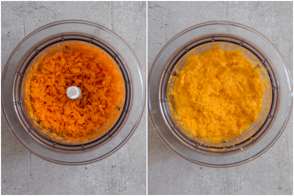 carrots grated in a food processor and butter added and mixed until creamy