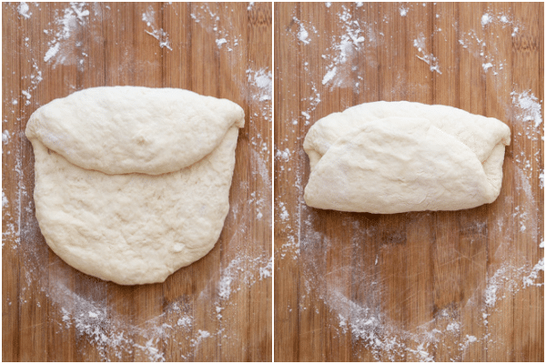 folding the dough like an envelope on a wooden board