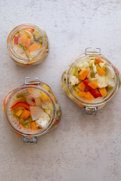 vegetable picture in glass jars