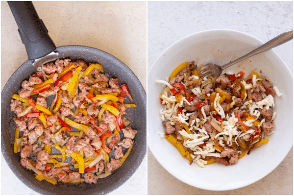 cooked ingredients in a frying pan, and in a white bowl cooled with cheese