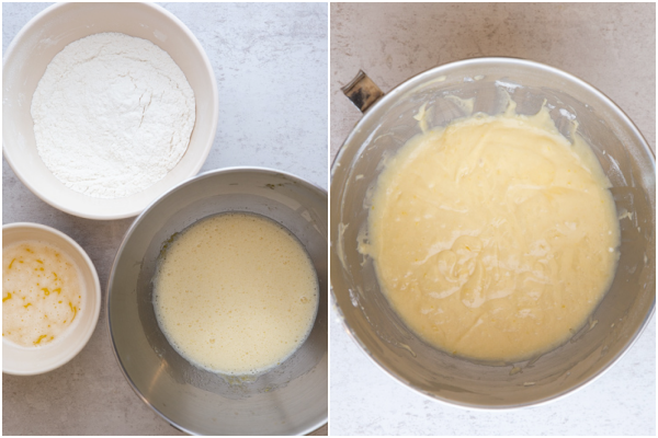 beating ingredients until fluffy, and making the cake batter in a mixing bowl