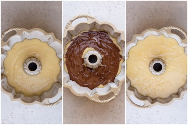 adding it to the bundt pan, layering with hazelnut cream and covering with remaining batter ready for baking