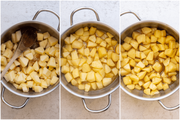 making the caramelized apples in a silver pot