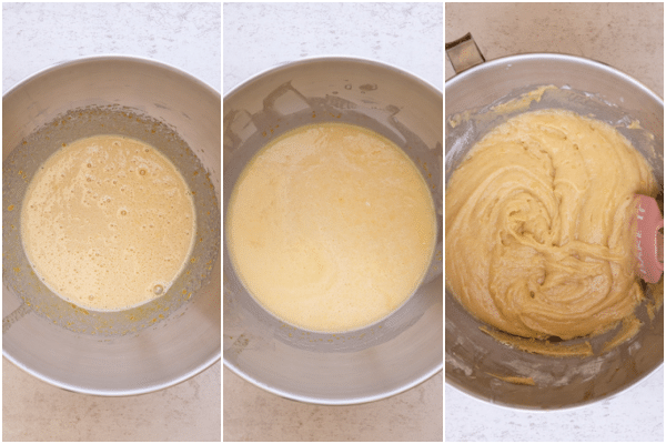 making the cake batter beating the eggs and adding the flour