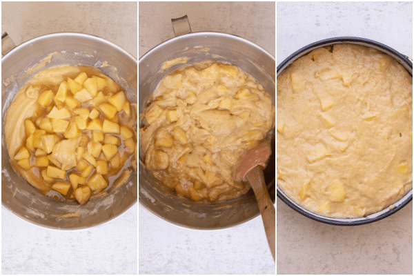 folding the caramelized apples into the batter and spooning into the cake pan