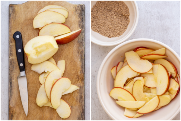 slicing the apples and mixing the brown sugar & cinnamon