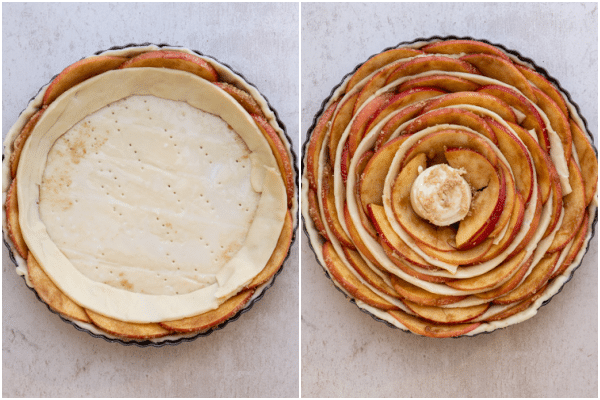 a strip of pastry around the apple slices and the finished pie before baking