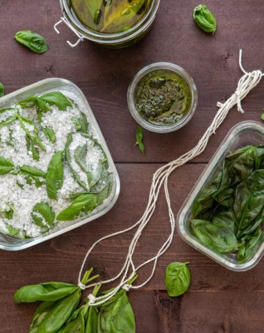 5 ways to preserve basil on a brown board