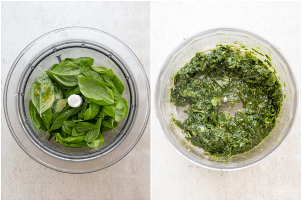 making pesto in a food processor