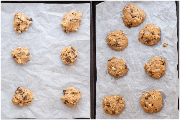 drop cookies on cookie sheet before and after baking