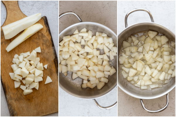 cut up pear on a wooden board and cooked in a small silver pot