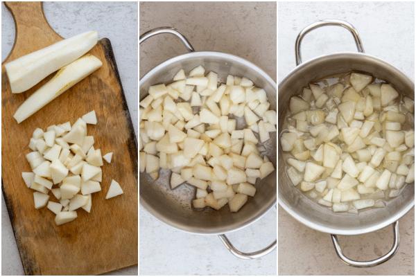 एक लकड़ी के बोर्ड पर नाशपाती काटें और एक छोटे चांदी के बर्तन में पकाना