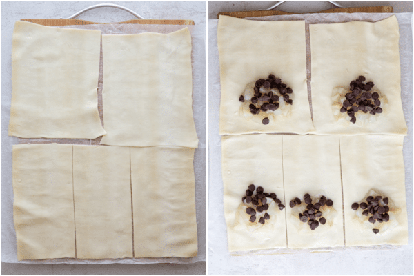 cutting out the puff pastry and topping the bottom half with filling