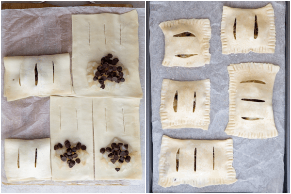 पेस्ट्री को 3 टुकड़ों में काटें और कुकी शीट पर मोड़ो