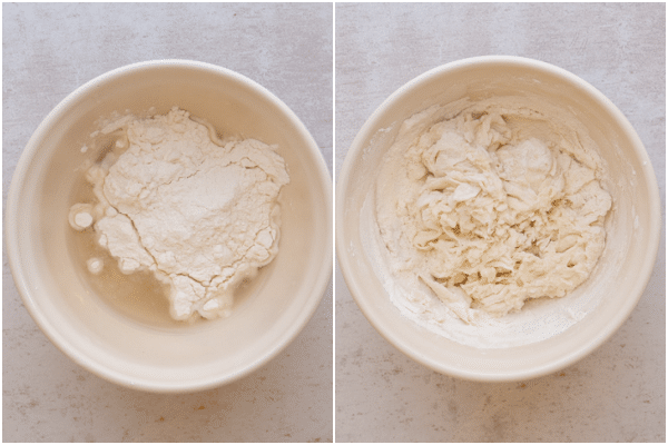 making the dough for the lievito madre in a white bowl